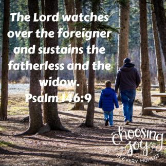 THe Lord watches over the foreigner and sustains the fatherless and the widow.Psalm 146_9